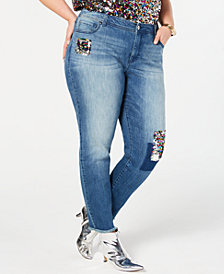 I.N.C. Plus Size Sequin-Patched Jeans, Created for Macy's