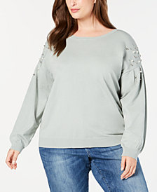 I.N.C. Plus Size Embellished Sweater, Created for Macy's