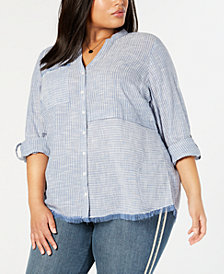 Style & Co Plus Size Cotton Striped Fringe-Trimmed Shirt, Created for Macy's