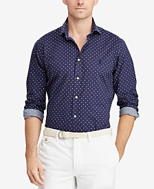 Polo Ralph Lauren Men's Classic Fit Stretch Polka-Dot Shirt