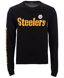 Authentic NFL Apparel Men's Pittsburgh Steelers Streak Route Long Sleeve T-Shirt