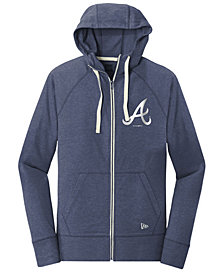 New Era Atlanta Braves Triblend Fleece Full-Zip Sweatshirt