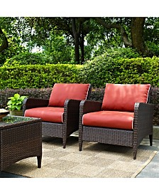 Kiawah 2 Piece Outdoor Wicker Seating Set With Sangria Cushions - 2 Arm Chairs