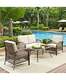 Tribeca 4 Piece Outdoor Wicker Seating Set With Cushions - Loveseat, 2 Arm Chairs And Coffee Table