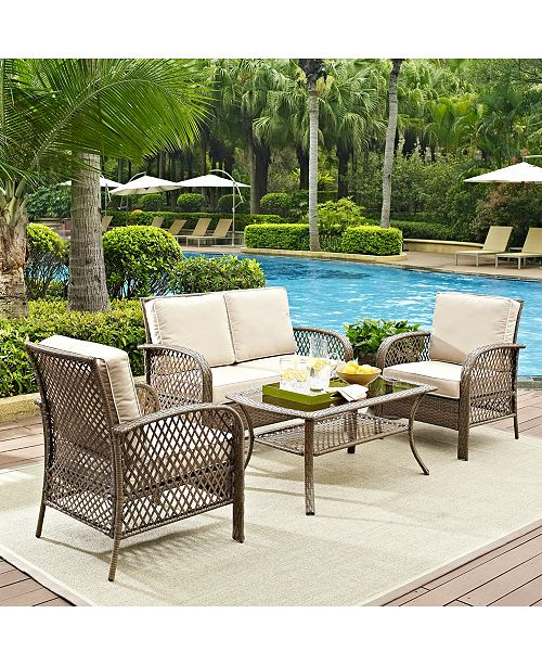 Fantastic Tribeca 4 Piece Outdoor Wicker Seating Set With Cushions Loveseat 2 Arm Chairs And Coffee Table Alphanode Cool Chair Designs And Ideas Alphanodeonline