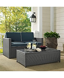 Palm Harbor 2 Piece Outdoor Wicker Seating Set In Wicker With Cushions - Loveseat And Coffee Table