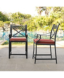 Cast Aluminum Bar Height Stools With Sangria Cushions (Set Of 2)