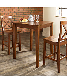 3 Piece Pub Dining Set With Tapered Leg And X-Back Stools