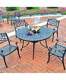 "Sedona 42"" 5 Piece Cast Aluminum Outdoor Dining Set With Arm Chairs"