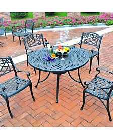 """Sedona 42"""" 5 Piece Cast Aluminum Outdoor Dining Set With Arm Chairs"""