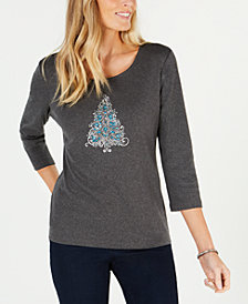 Karen Scott Petite Sparkle Tree Cotton Top, Created for Macy's