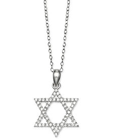 "Giani Bernini Cubic Zirconia Star of David 18"" Pendant Necklace in Sterling Silver, Created for Macy's"