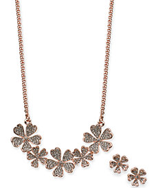 "Charter Club Crystal Flower Collar Necklace & Stud Earrings Set, 17"" + 2"" extender, Created for Macy's"