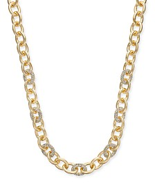 "Charter Club Gold-Tone Pavé Link Collar Necklace, 18-1/2"" + 2"" extender, Created for Macy's"