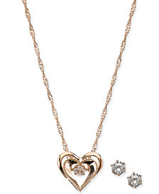 """Charter Club Rose Gold-Tone Crystal Dancing Heart 18"""" Pendant Necklace & Stud Earrings Set, Created for Macy's"""
