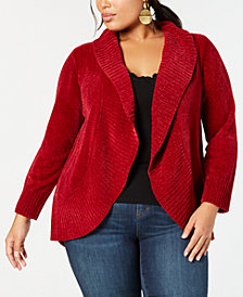 Style & Co Plus Size Chenille Cutaway Cardigan, Created for Macy's