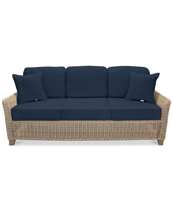 Furniture Willough Wicker Outdoor Sofa: with Custom Sunbrella® Colors, Created for Macy's