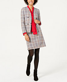 Bar III Tweed Jacket, Long-Sleeve Crepe Blouse & Tweed Asymmetrical Skirt