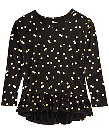 Epic Threads Big Girls Dot-Print Peplum Top, Created for Macy's