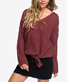 Roxy Juniors' Tie-Front Bell-Sleeve Sweater