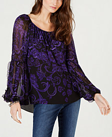 I.N.C. Printed Crinkle-Sleeve Top, Created for Macy's