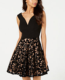 City Studios Juniors' Sequin-Skirt Fit & Flare Dress