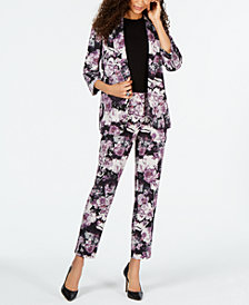 Nine West Floral-Printed Jacket & Floral-Printed Printed Pants