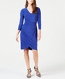 I.N.C. Ruched 3/4-Sleeve Dress, Created for Macy's