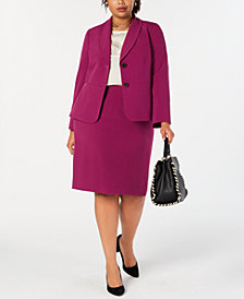 Le Suit Plus Size Crepe Skirt Suit