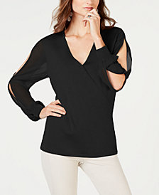 I.N.C. Surplice Illusion-Sleeve Sweater, Created for Macy's