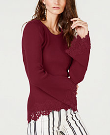 I.N.C. Lace-Hem Bell-Sleeve Sweater, Created for Macy's