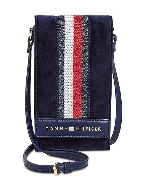 835dc9bce1b8 Tommy Hilfiger Isa Velvet Metallic Flag Phone Crossbody - Handbags ...
