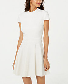 City Studios Juniors' Allover-Glitter Short-Sleeve Fit & Flare Dress