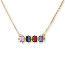 "RACHEL Rachel Roy Gold-Tone Crystal Bar Pendant Necklace, 15-1/2"" + 2"" extender"