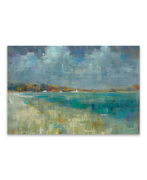 """Artissimo Designs Sky And Sea Hand Embellished Canvas Art - 36"""" W x 24"""" H x 1.5"""" D"""