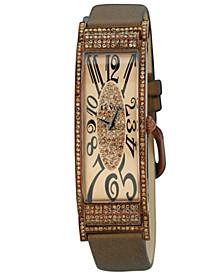 Watch, Women's Deco Estate Diamond (2-3/8 ct. t.w.) Brown Satin Strap 20x56mm