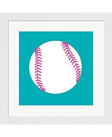 White Softball on Te by Sports Mania Framed Art