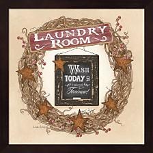 Laundry Room Wreath By Linda Spivey Framed Art