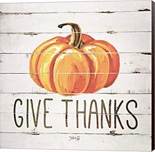Give Thanks Pumpkin By Marla Rae Canvas Art