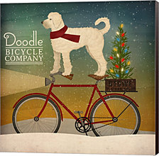 White Doodle on Bike Christmas by Ryan Fowler Canvas Art