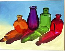 Colorful Bottles by Ata Alishahi Canvas Art