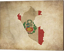 Map with Flag Overlay Peru by Color Me Happy Canvas Art
