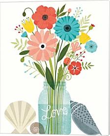 Seaside Bouquet Ii Mason Jar By Michael Mullan Canvas Art
