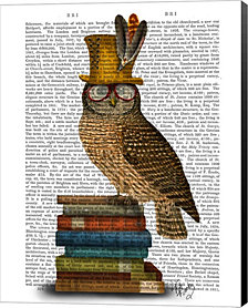 Owl On Books by Fab Funky Canvas Art