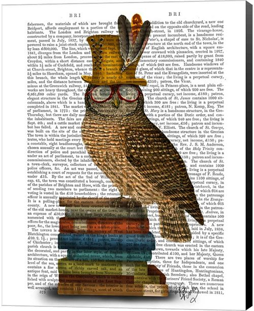 Metaverse Owl On Books By Fab Funky Canvas Art