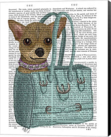 Chihuahua In Bag by Fab Funky Canvas Art