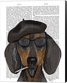 Hipster Dachshund Black and Tan by Fab Funky Canvas Art