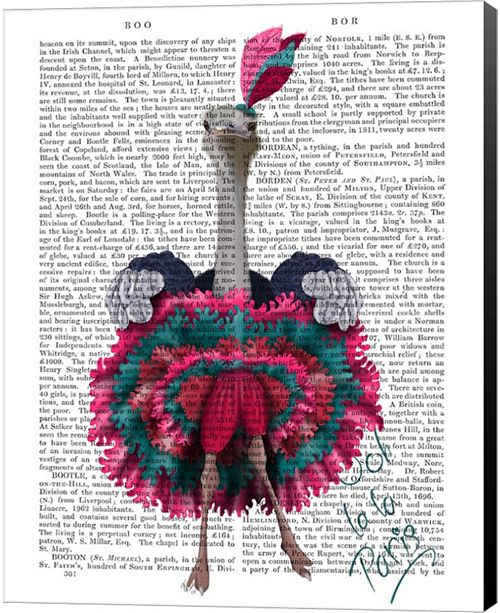 Metaverse Ostrich, Can Can In Pink And Turquoise By Fab Funky Canvas Art