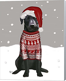 Black Labrador, Christmas Sweater 1 By Fab Funky Canvas Art