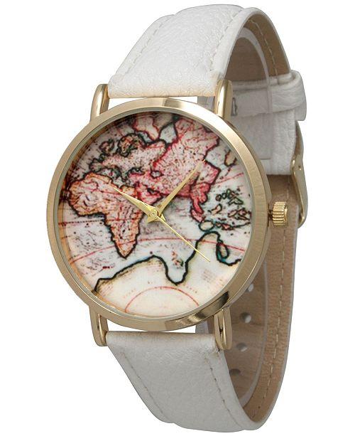 Olivia Pratt World Map Leather Strap Watch - Watches - Jewelry ...